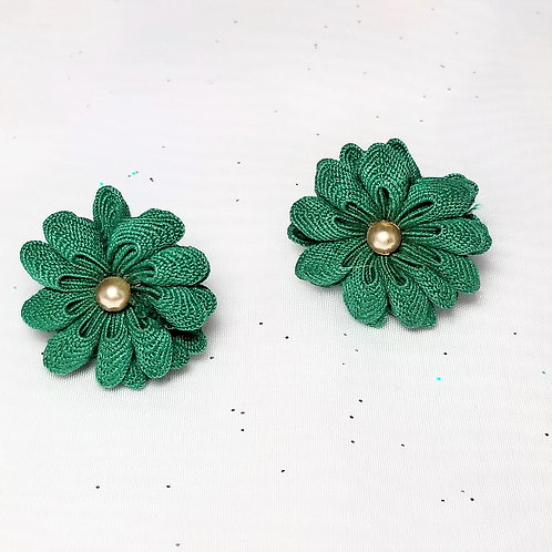 Designer by provenance, earrings, screw back green fabric flowers in gold tone