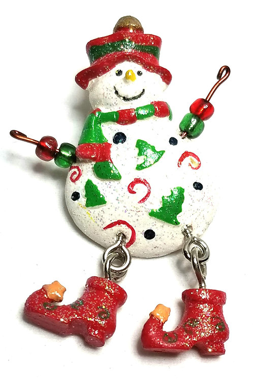 Designer by provenance, brooch, Snowman motif, multi color, silver tone.