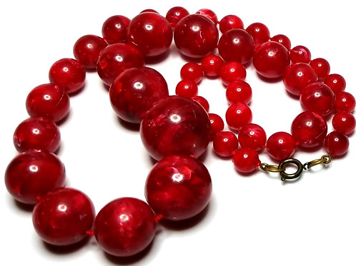 Designer by provenance, necklace, red graduated beads, gold tone, 24 inches.
