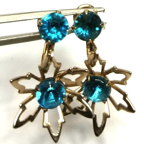 Designer by provenance, earrings, clip on drops, blue faceted stones, silver ton
