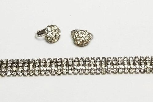 Designer by Castle Cliff, set, bracelet and earrings, clear rhinestones.