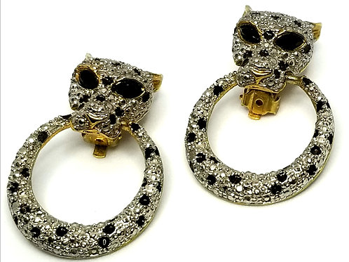Designer by provenance, earrings, clip on, leopards motif, clear/black rhineston
