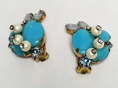 Designer by Marvella, earrings, clip on turquoise and white in gold tone.