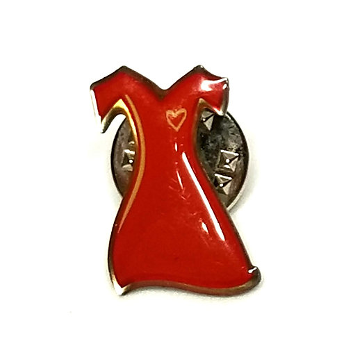 Designer by provenance, pin, Woman and Heart Disease Awareness motif, red.