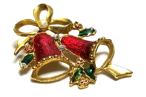 Designer by provenance, brooch, Christmas bells motif, multi color, gold tone.