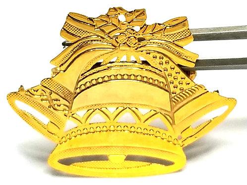 Designer by provenance, brooch, Christmas bells motif, gold tone.