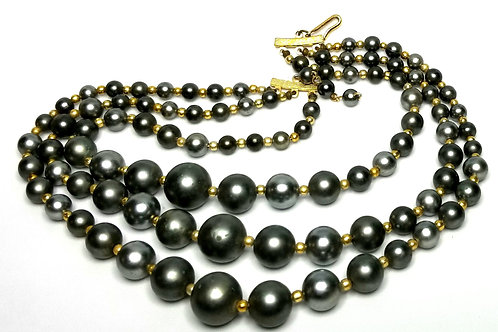 Designer by Made in Japan, necklace, choker, three strands grey faux pearls.