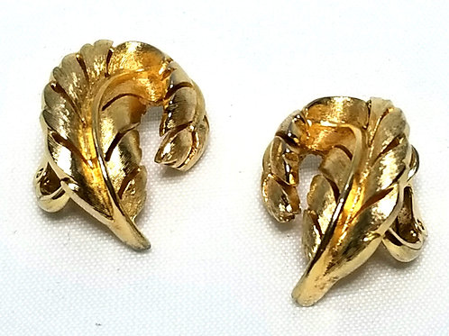 Designer by Crown Trifari, earrings, clip on, leaf motif, gold tone pot metal.
