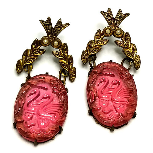 Designer by provenance, earrings, pierced drops, pink glass cabochons, gold tone