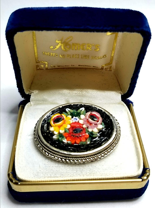 Designer by Italy, brooch, flower motif, multi color oval cut glass.