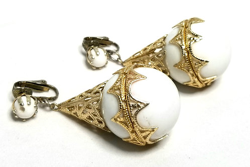 Designer by Hong Kong, earrings, clip on drops, white Lucite beads, gold tone.