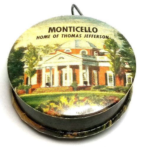 Designer by provenance, tape measure, Monticello motif, multi color, silver tone