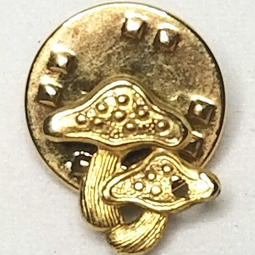 Designer by Provenance, tie tack or pin, mushrooms motif, gold tone 3/4 inch.