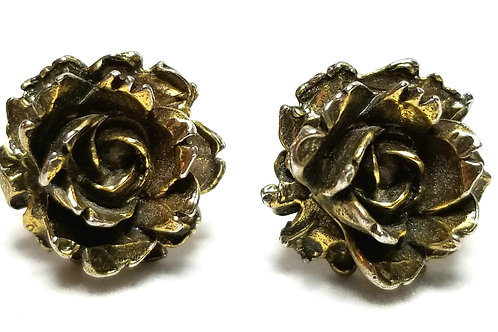 Designer by Zentall, cuff links, roses motif, gold tone, 5/8 inch.