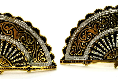 Designer by provenance, earrings, screw back, fans motif, black and gold tone.
