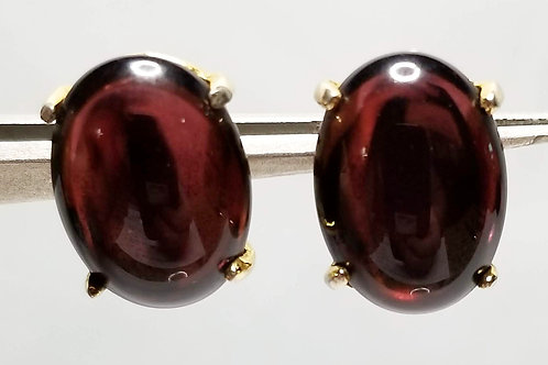 Designer by Hattie Carnegie, earrings, clip on purple oval cabochons gold tone