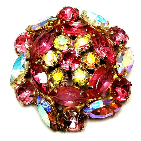 Designer by provenance, brooch, flower motif, pink and yellow faceted stones.