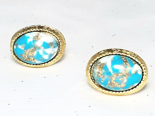 Designer by provenance, cuff links, multi-color blue and gold 7/8 x 5/8