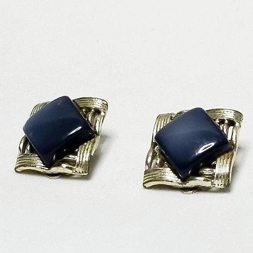 Designer by Karu, earrings, clip on blue silver tone pot metal.