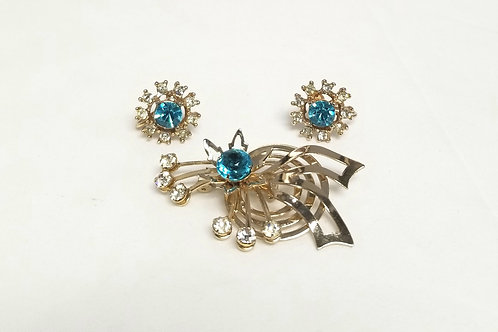 Designer by provenance brooch and earrings, sky blue and clear rhinestones