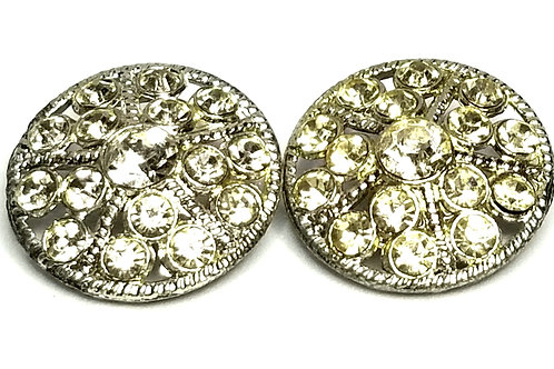 Designer by provenance, buttons, two, clear rhinestones, silver tone, 7/8 inches