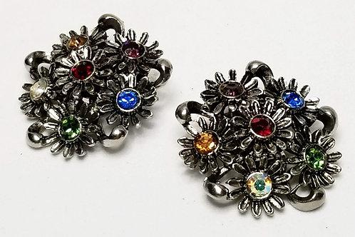 Designer by Judy Lee, earrings, clip on multi colored rhinestones flower motif.