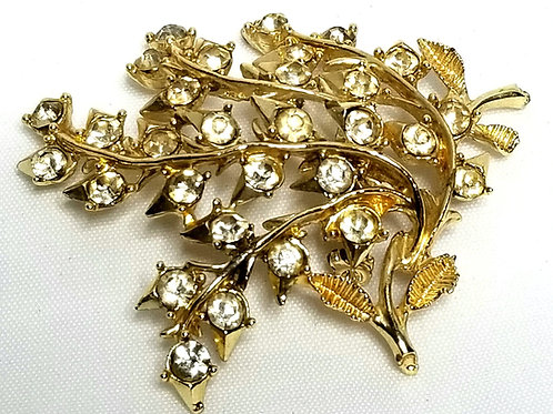 Designer by Coro, brooch, floral motif, gold tone with clear rhinestones.