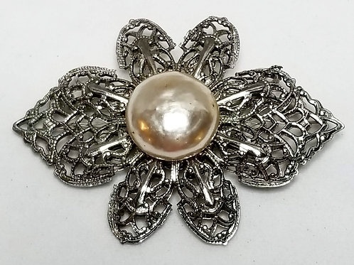 Designer by Miriam Haskell, brooch, flower motif, pearl and silver tone.
