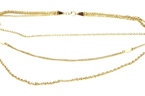 Designer by Avon, necklace, triple strand, white tube beads in gold tone.