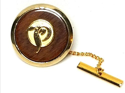 "Designer by provenance, tie tack or pin, initial ""P"", wood in gold tone."