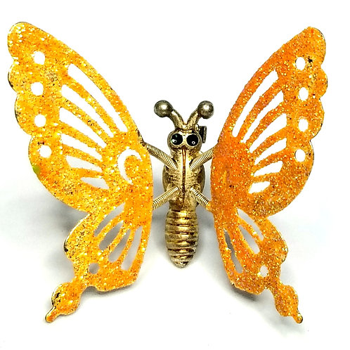 Designer by provenance, brooch, butterfly motif, moving orange glitter, gold ton