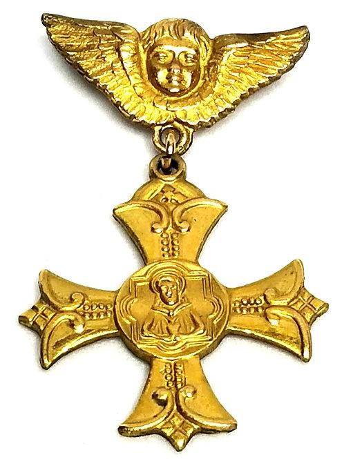Designer by provenance, pin, religious Apostleship of Prayer motif, gold plated.