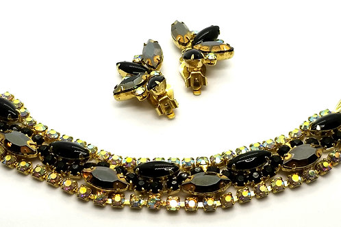 Designer by provenance, set, bracelet/earrings, black/smoky navettes, gold tone.