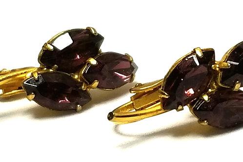 Designer by provenance, earrings, clip on, flower motif, purple faceted stones.