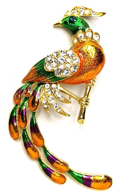 Designer by Provenance, brooch, peacock motif, multi color enamel with rhineston