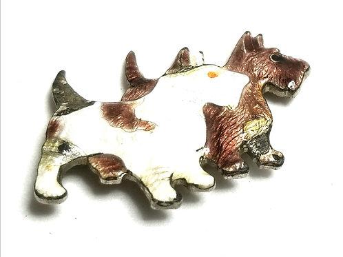 Designer by provenance, brooch, dog motif, multi color enamel, silver tone.