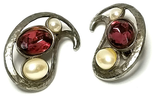 Designer by T.A.T., earrings, clip on swirl motif, purple/red, and white.