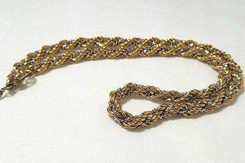 Monet.  Silver and gold tone pot metal rope chain necklace, 16 1/2 inches long.
