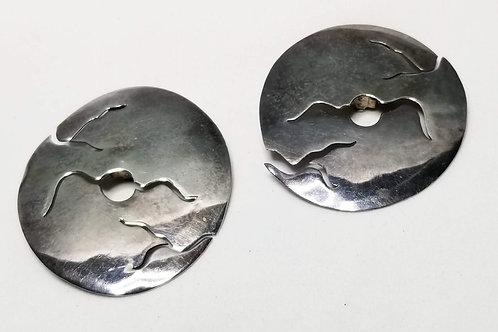 Designer by Wood, earrings, clip on silver tone round earrings.