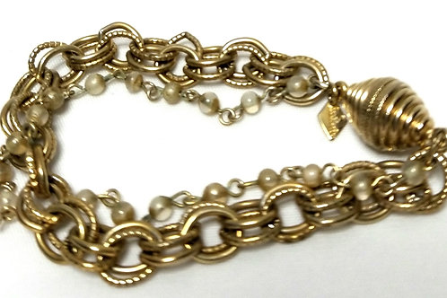 Designer By Sarah Cov, bracelet, multi chain, clear beads in gold tone.