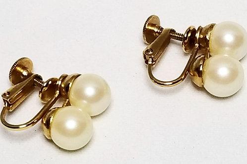 Designer by Laguna, earrings, clip on, screw back, pearls in gold tone pot metal