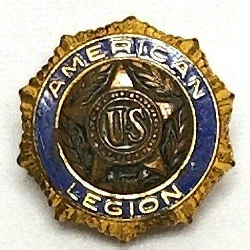 Designer by Pat DE 54296, lapel pin, U.S. American Legion, blue and gold tone.