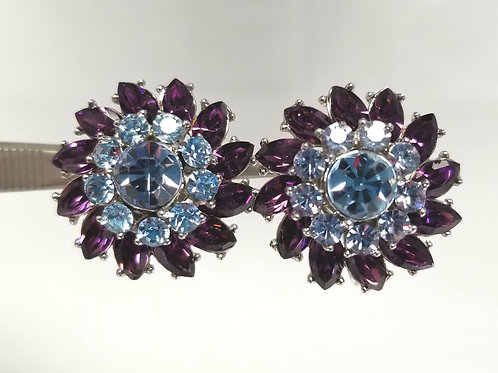 Crown Trifari, purple and blue crystals silver tone clip on earrrings, 1 inch.