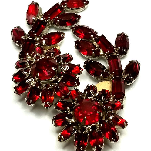 Designer by provenance, earrings, clip on, flower motif, red stones, silver tone