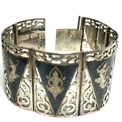 Designer by Siam, bracelet, dancer motif, black and silver tone, 7 inches