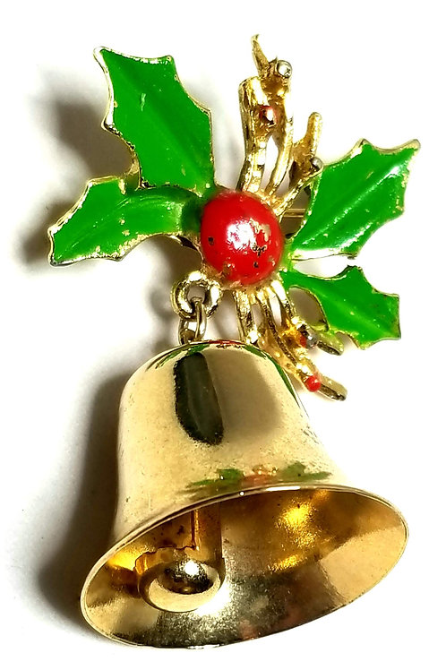 Designer by provenance, brooch, holly with bells motif, multi color, gold tone.