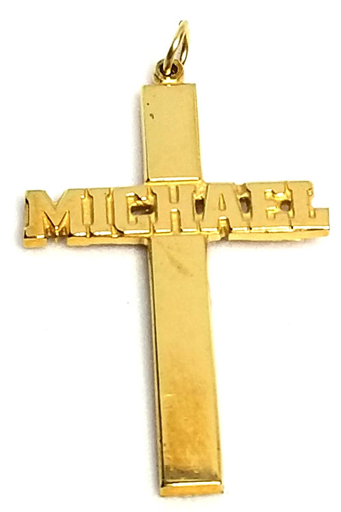 Designer by provenance, pendant, cross motif, embossed name Michael, gold tone.