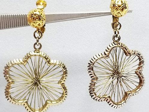 Designer by Hobe, earrings, clip on screw back dangle gold tone flower motif.