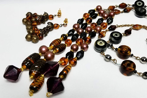 Designer by Flapper, set, black and brown beaded necklace and earrings.