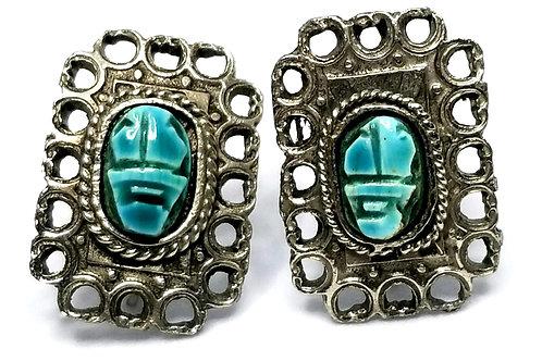 Designer by provenance, earrings, screw backs, scarab motif, turquoise look.